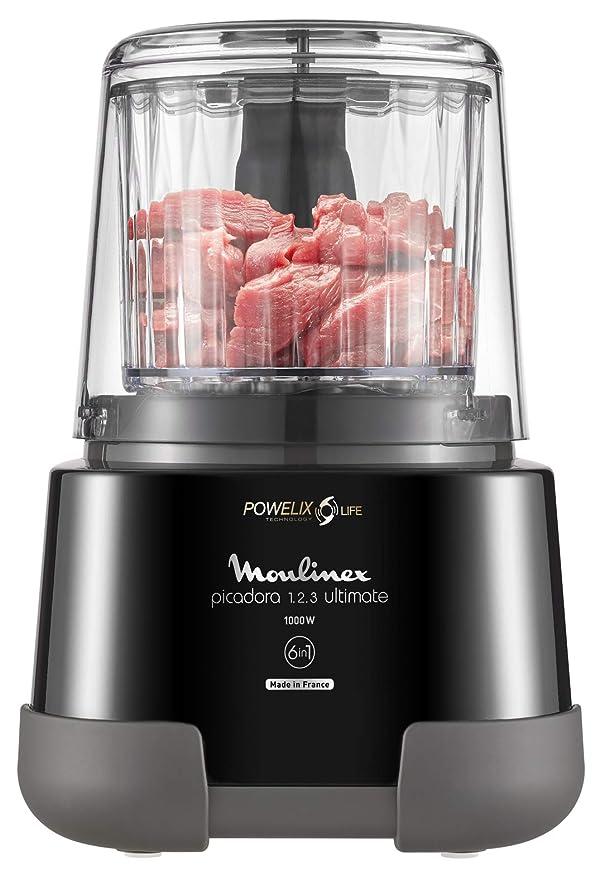 Moulinex Ultimate DP815855 - Picadora eléctrica 1,2,3 de alimentos 1000 Wcon cuchillas de revestimiento de Titanio, 6 en 1 , con capacidad de 550 ml e ...