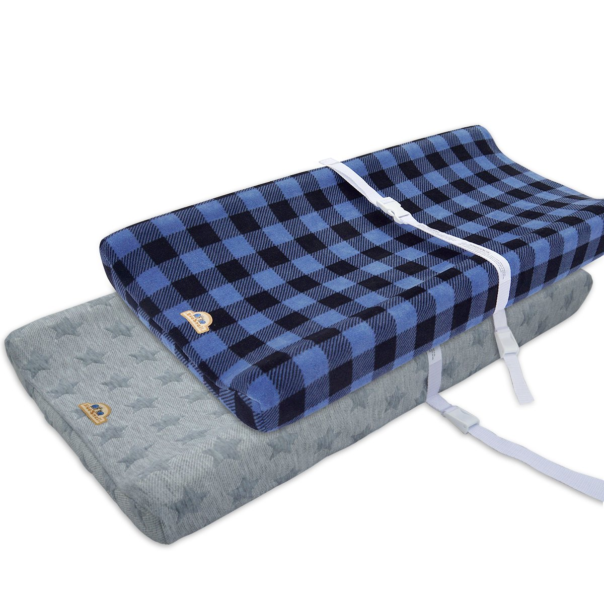 Ultra Soft and Contoured Plush Changing Pad Cover for Baby 2-Pack by BlueSnail grey plaid+star jacquard