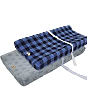 Ultra Soft and Contoured Plush Changing Pad Cover for Baby 2-Pack by BlueSnail (navy plaid+star jacquard)