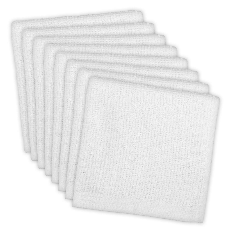 "DII Cotton, Machine Washable, Monogrammable, Everyday Kitchen Basic Utility Bar Mop Dishcloth 12 x 12"" Set of 8- White"