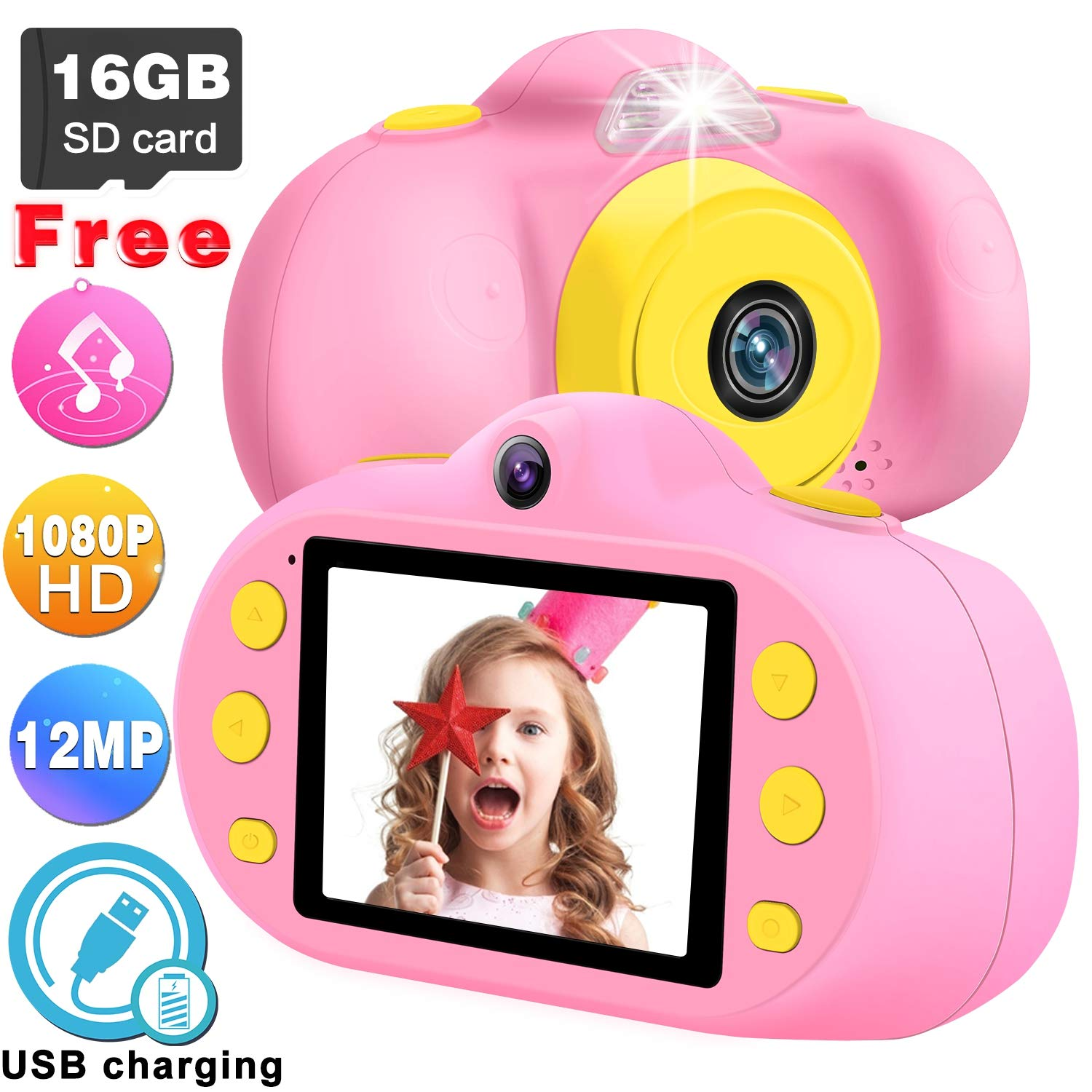 GBD [NEW] Kids Camera Toys for Boys Girls,12MP HD 1080P Selfie Video Camera with MP3 Player Games DUAL Lens, 2.4'' Digital Camcorder Recorder Back to School Birthday Gift,(Free 16GB Memory Card) (Pink) by GBD (Image #8)