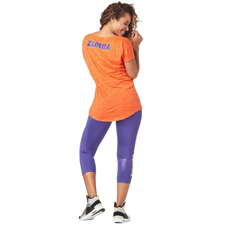 Zumba Fitness Damen Womens Breathable Fashion Print Burnout Workout Tee kurz/ärmelig