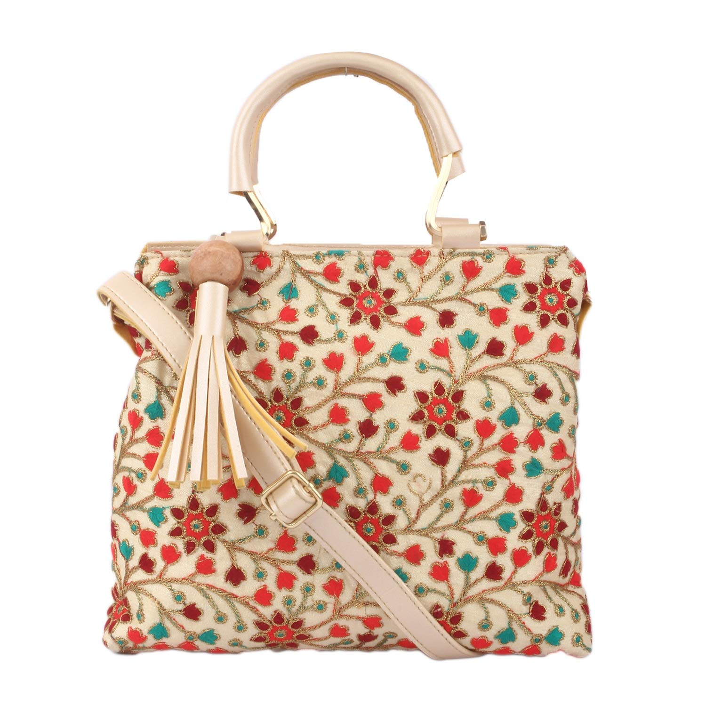 Sontronix Women's Silk Rajasthani, Gujarati, Jaipuri Embroidered Sling bag Handbag product image