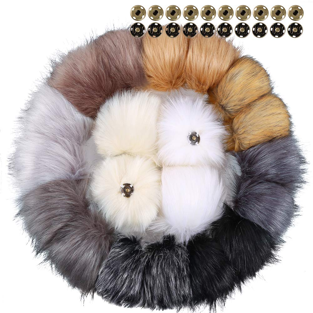 Auihiay 20 Pieces Faux Fur Pom Pom Ball Removable Fluffy Pompom with Press Button for Knitting Hat Shoes Scarves Bag Accessories (Mix Color, 10 cm)