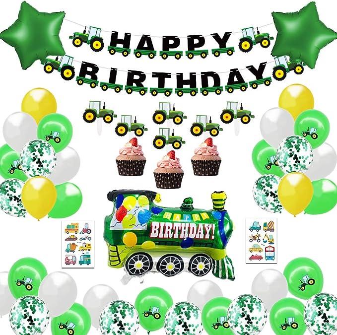 Trattore Bunting Banners Compleanno Decorazioni di Compleanno Trattore Forniture per Feste(Verde) Banner Compleanno del Trattore