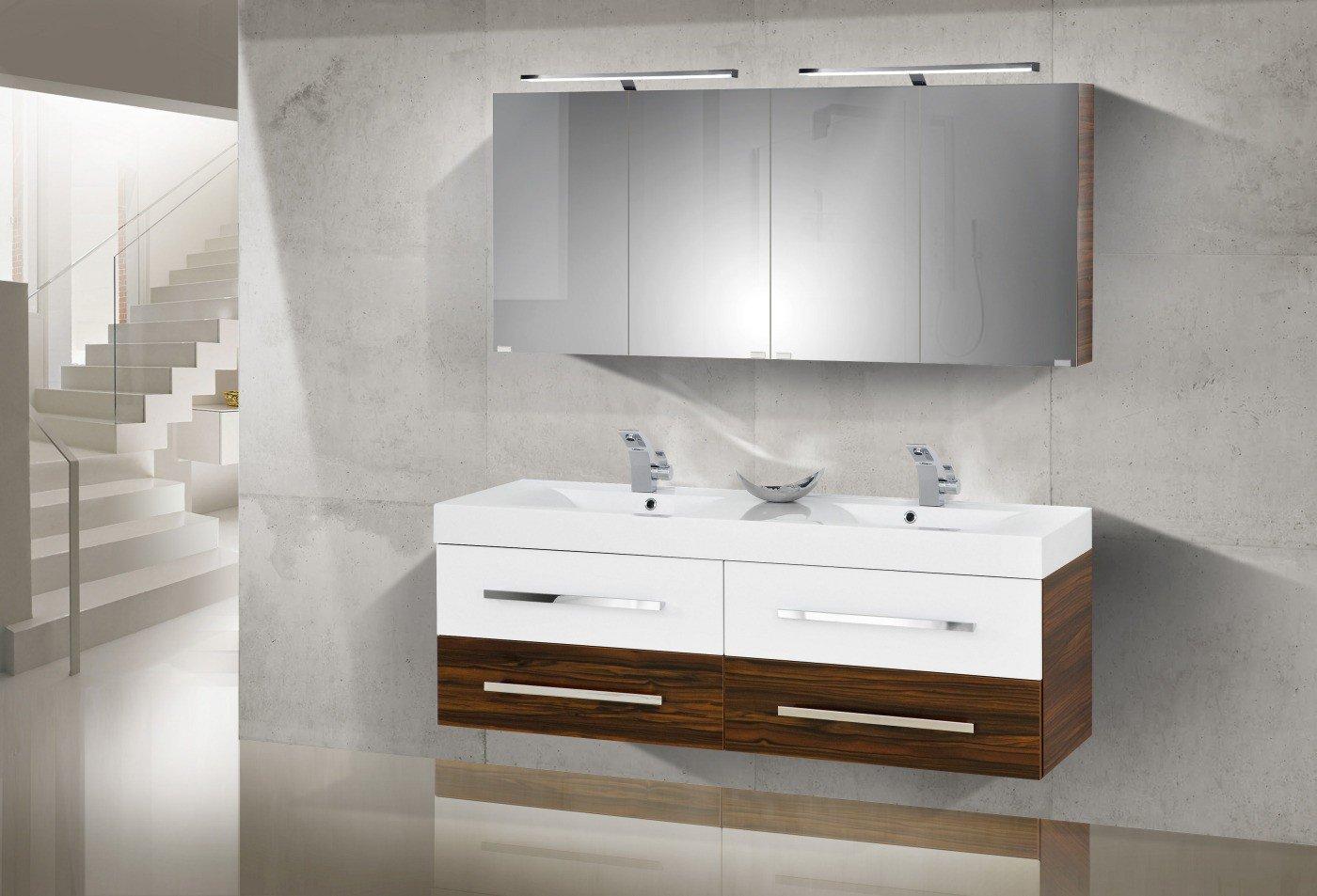 Design Badmöbel Set mit Waschbecken und 160 cm Doppelwaschtisch ... | {Badmöbel doppelwaschtisch günstig 45}