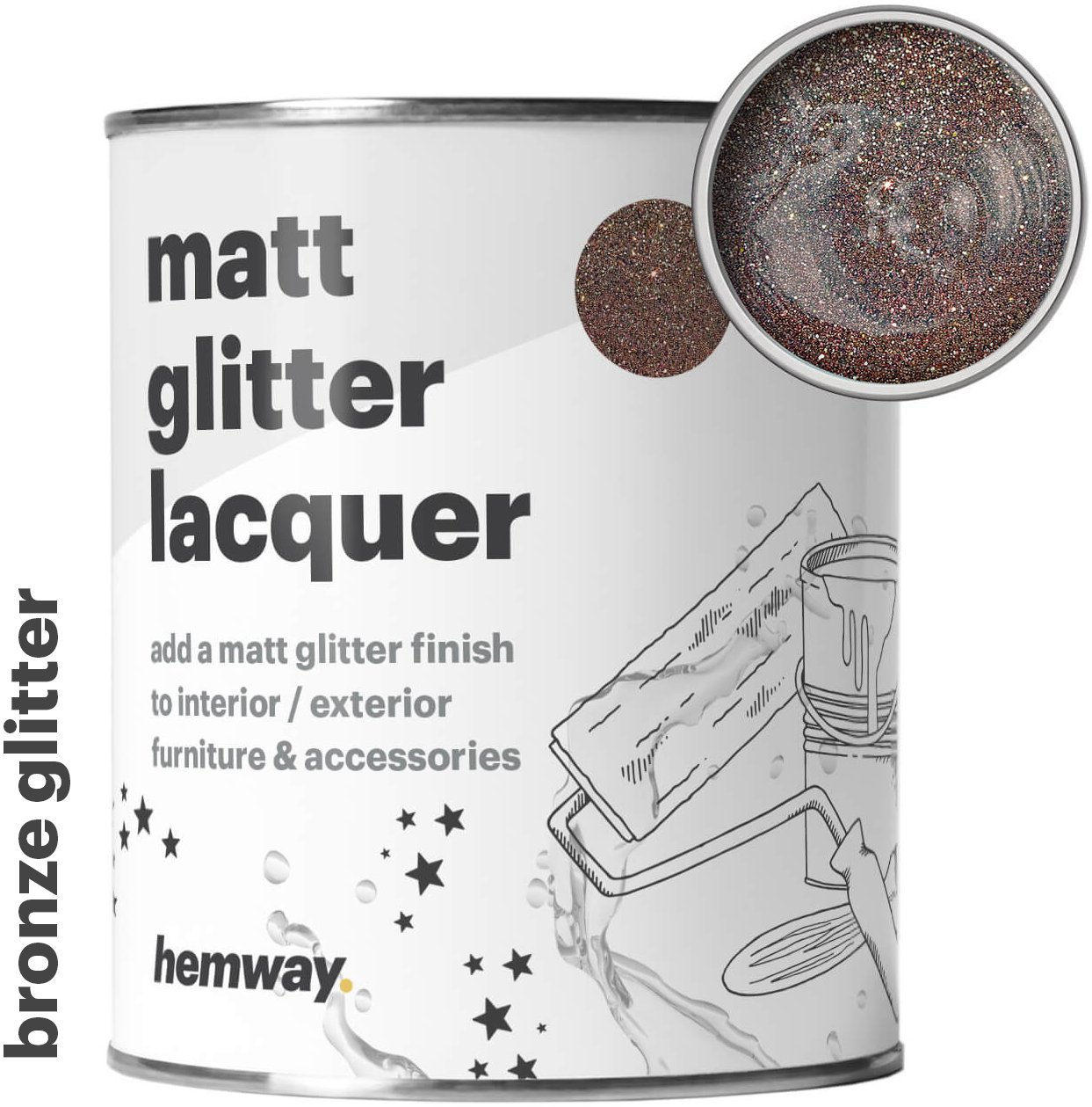 Hemway Bronze Glitter Matt Varnish Lacquer Quick Dry Sparkling Glaze Interior Exterior, Furniture, Accessories, Brick, Wood, Stone, Plaster, Plastic, Tiles (1 Litre/Quart)