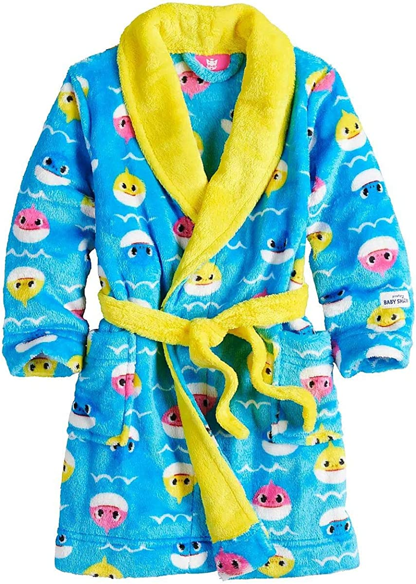 Blue, 4-6T LinoNino Shark Family Hooded Bathrobe for Kids Made in Europe HD Printed with Pocket