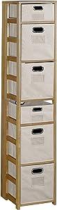 "Niche Flip Flop Square Folding Bookcase and Canvas Storage Bins 67"" Medium Oak/Natural"