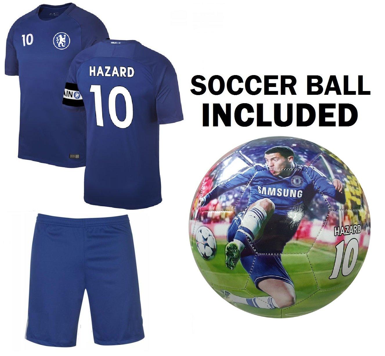 Hazard Kidsジャージー+短パン+ボール=プレミアムギフトセットチェルシーEden Hazard # 10 Youth Soccer Ball Size 5 Football B07BL6QQZ5 YM 8-10 years|ジャージ+ボール YM 8-10 years