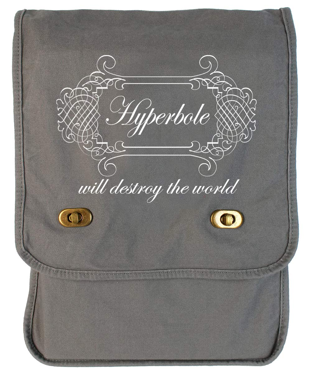 Tenacitee Hyperbole Will Destroy the World Java Raw Edge Canvas Messenger Bag