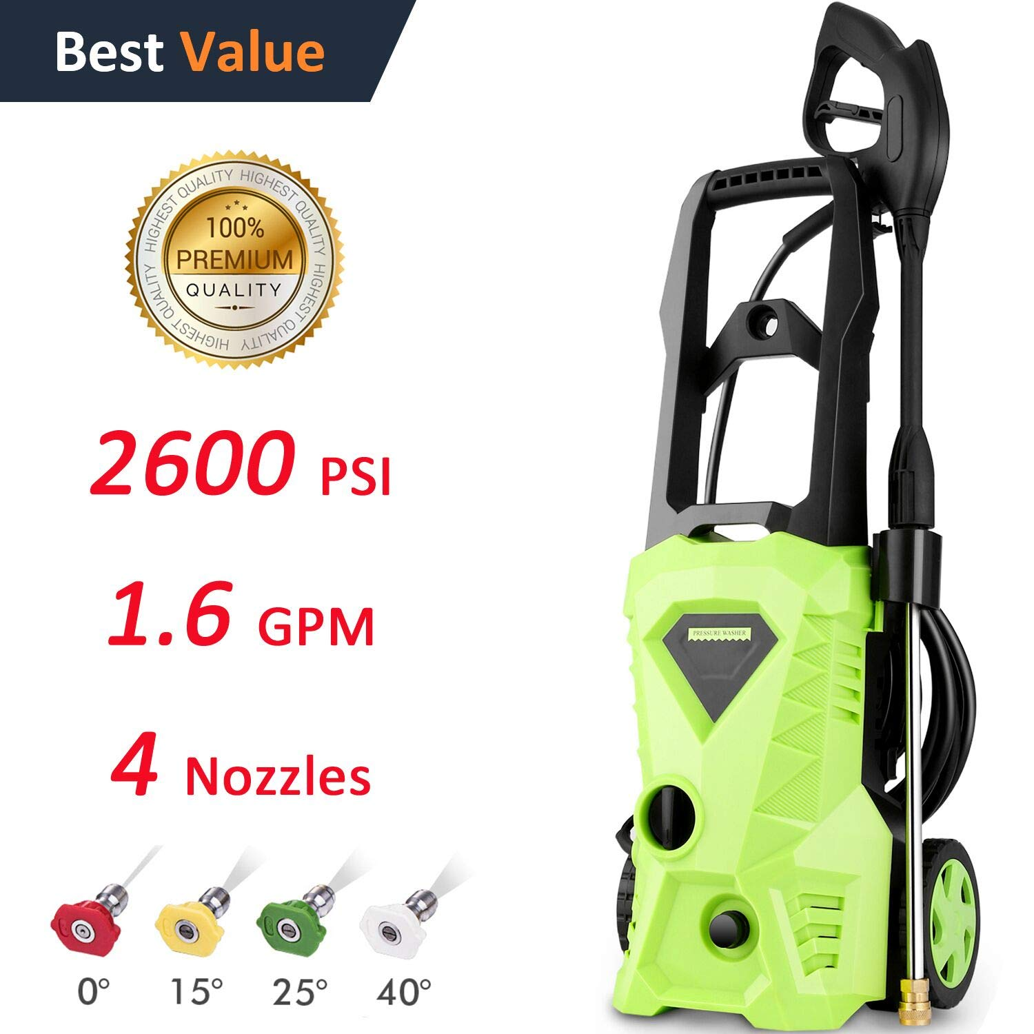 Flagup 2600 PSI Max Power Pressure Washer, 1600W Electric Pressure Washer, High Pressure Power Hose Gun Wand Built in Soap Dispenser + (4) Nozzle Adapter,1.60 GPM