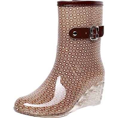 5e06d1d34f73 sekesin Women s Mid Calf Anti-Slip Rain Boots Buckle Side Zipper Wedge High  Heel PVC