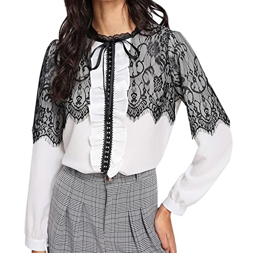 27bb809a0bbc26 2019 New Women's Lace Blouse Elegant Chiffon Loose Long Sleeve T-Shirt Tops  by E-Scenery at Amazon Women's Clothing store: