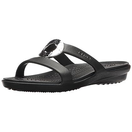 af3d75741 Crocs Women s Sanrah Hammered Met Sandal W Flat Black