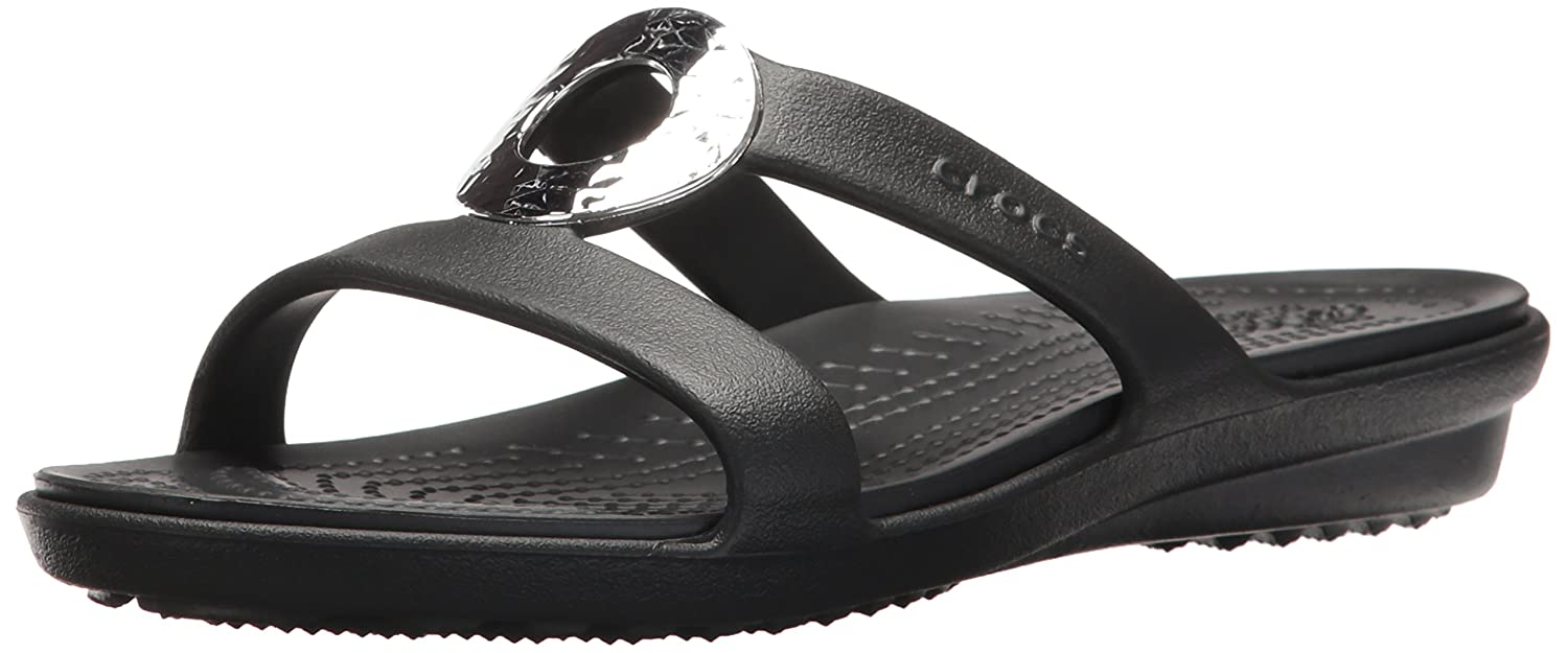4884500df1e6 Amazon.com  Crocs Women s Sanrah Hammered Metallic Sandal  Shoes