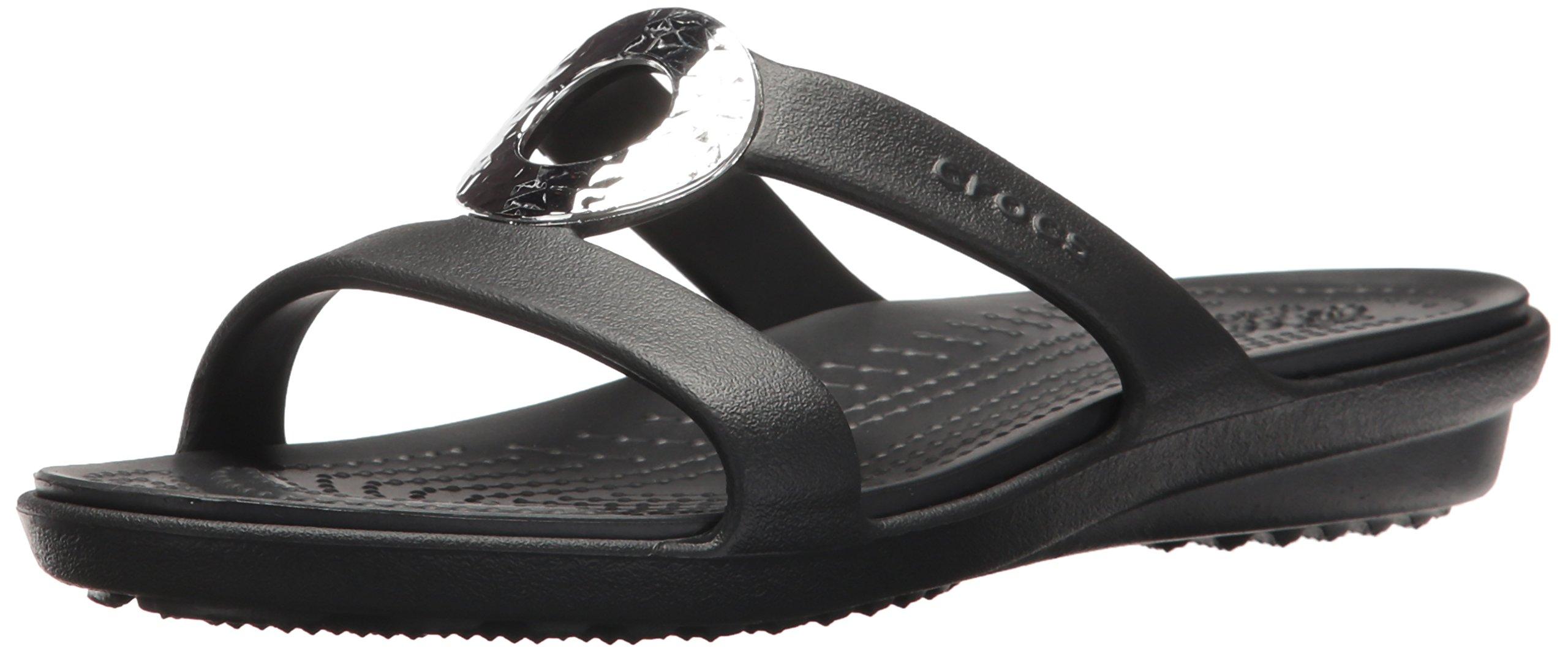Crocs Women's Sanrah Hammered Met W Flat Sandal, Black/Black, 8 M US