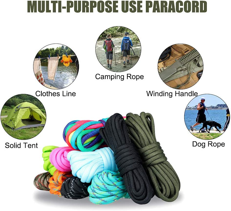 WEREWOLVES Paracord 550/350lb Type III - Paracord Bracelet Crafting Kits -Many Colors of Parachute Cord Outdoor Survival Rope (550lb 100FT-A) : Sports & Outdoors