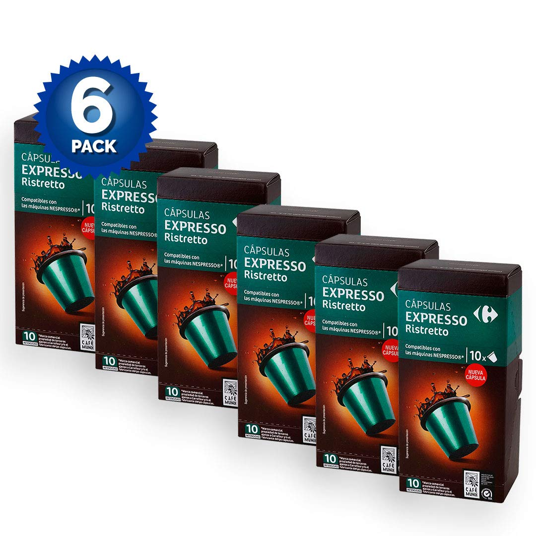 6 PACK Carrefour Ristretto Coffee 10 Capsules per Package (60 total x 5,2g) 52gr. - Compatible with Nespresso Machine - Made In Spain - Delicious & Healthy ...