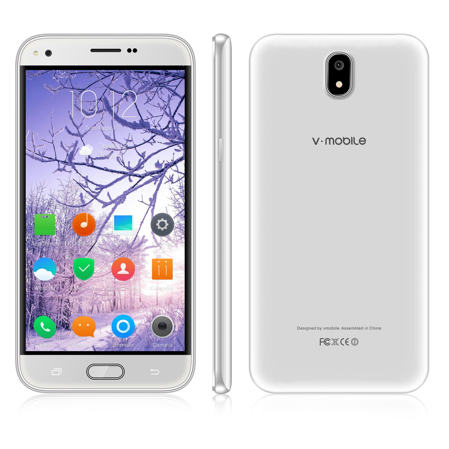 Unlocked Cell Phone,V Mobile J5-N 5.5 Inch 8GB ROM Android 7.0 Dual Sim 5MP Camera 3G Smartphone Cheap and Fine Quad-core Supports WI-FI Bluetooth GPS for at&T T-Mobile(White)