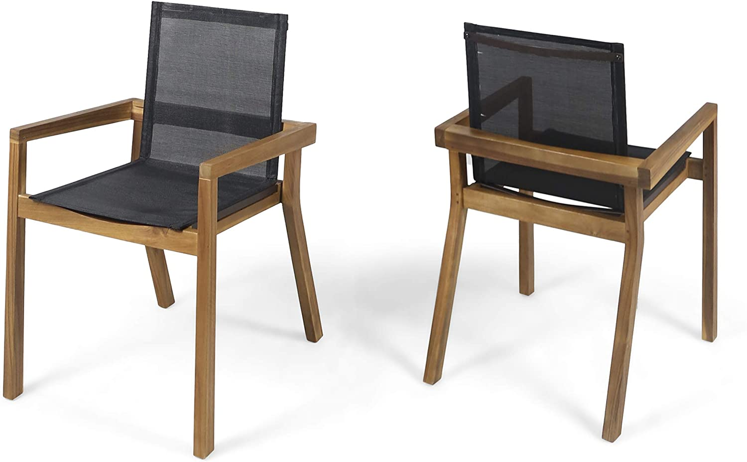 Great Deal Furniture Jimmy Outdoor Acacia Wood and Mesh Dining Chairs (Set of 2), Teak