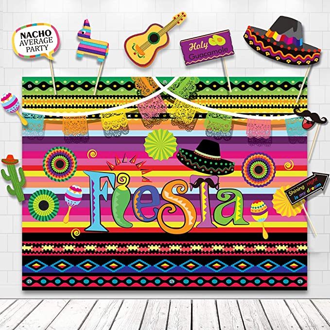 4fe93737f Amazon.com: Fiesta Theme Photography Backdrop Mexican Themed Dress-up  Photobooth for Summer Fiesta Luau Theme Cinco De Mayo Birthday Pool Party  Supplies ...
