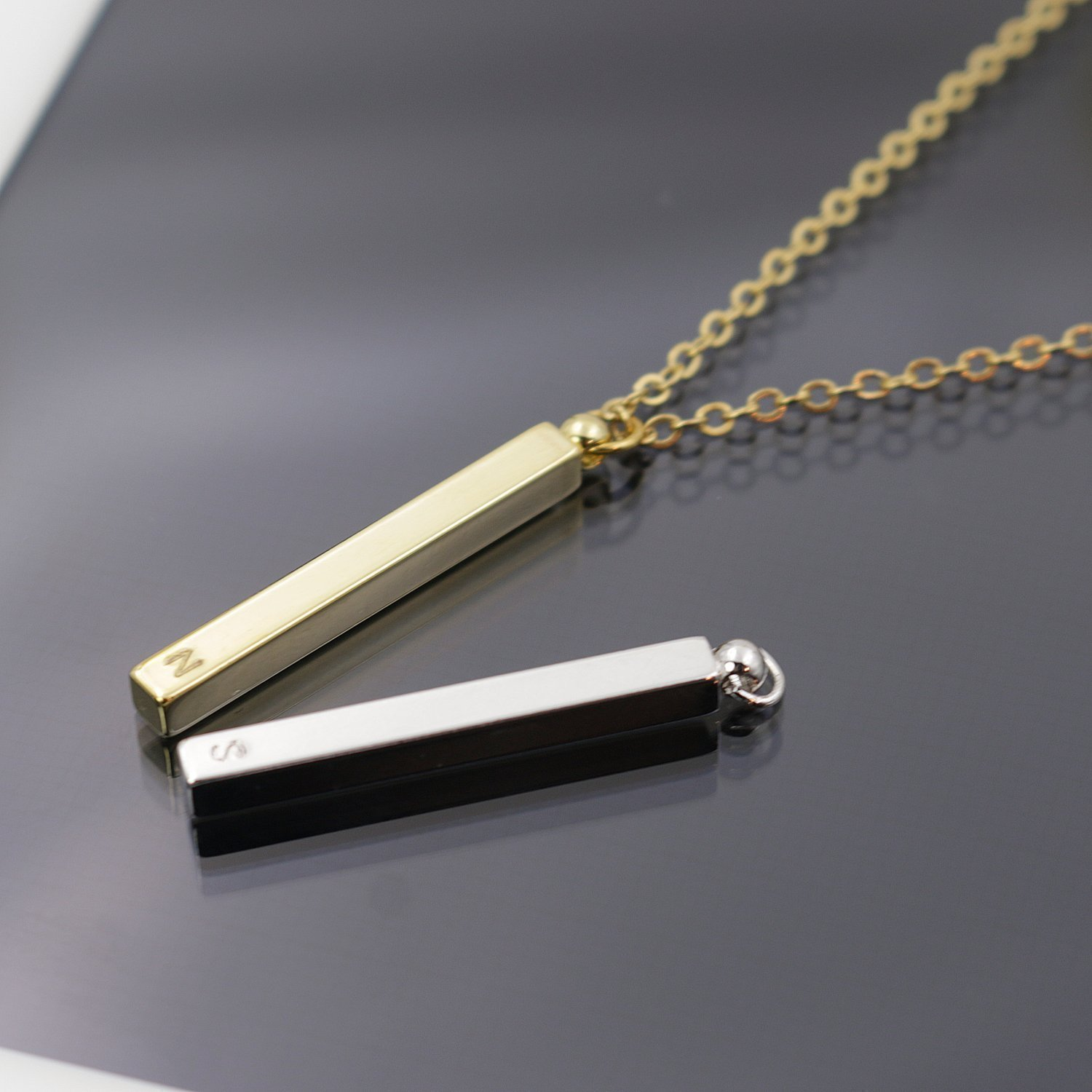SAME DAY SHIPPING GIFT TIL 2PM CDT A Delicate Vertical 16K Gold Silver Rose Gold Bar Necklace - Dainty Handstamped Personalized square stick Bar Plate Initial Charms Necklace Bridesmaid Wedding gift