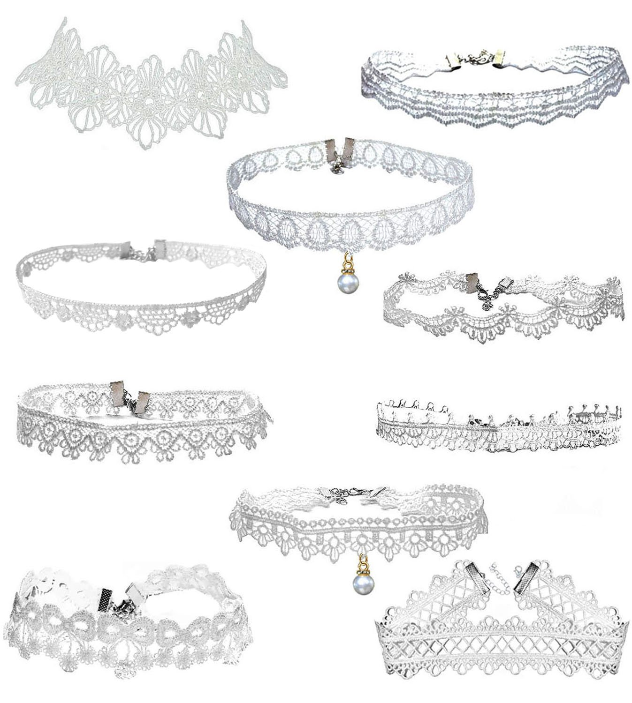 LINKY 10pcs White Lace Choker Necklace Women Girls Jewelry Set (White)