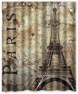 KXMDXA Paris Eiffel Tower Bathroom Polyester Shower Curtain 60x72 Inch