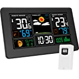 Kalawen Weather Station, Temperature Humidity with Indoor Sensor Digital Alarm Clock, Wireless Remote Sensor Barometer, Temperature, Humidity Monitor Color Display Weather Forecast Station