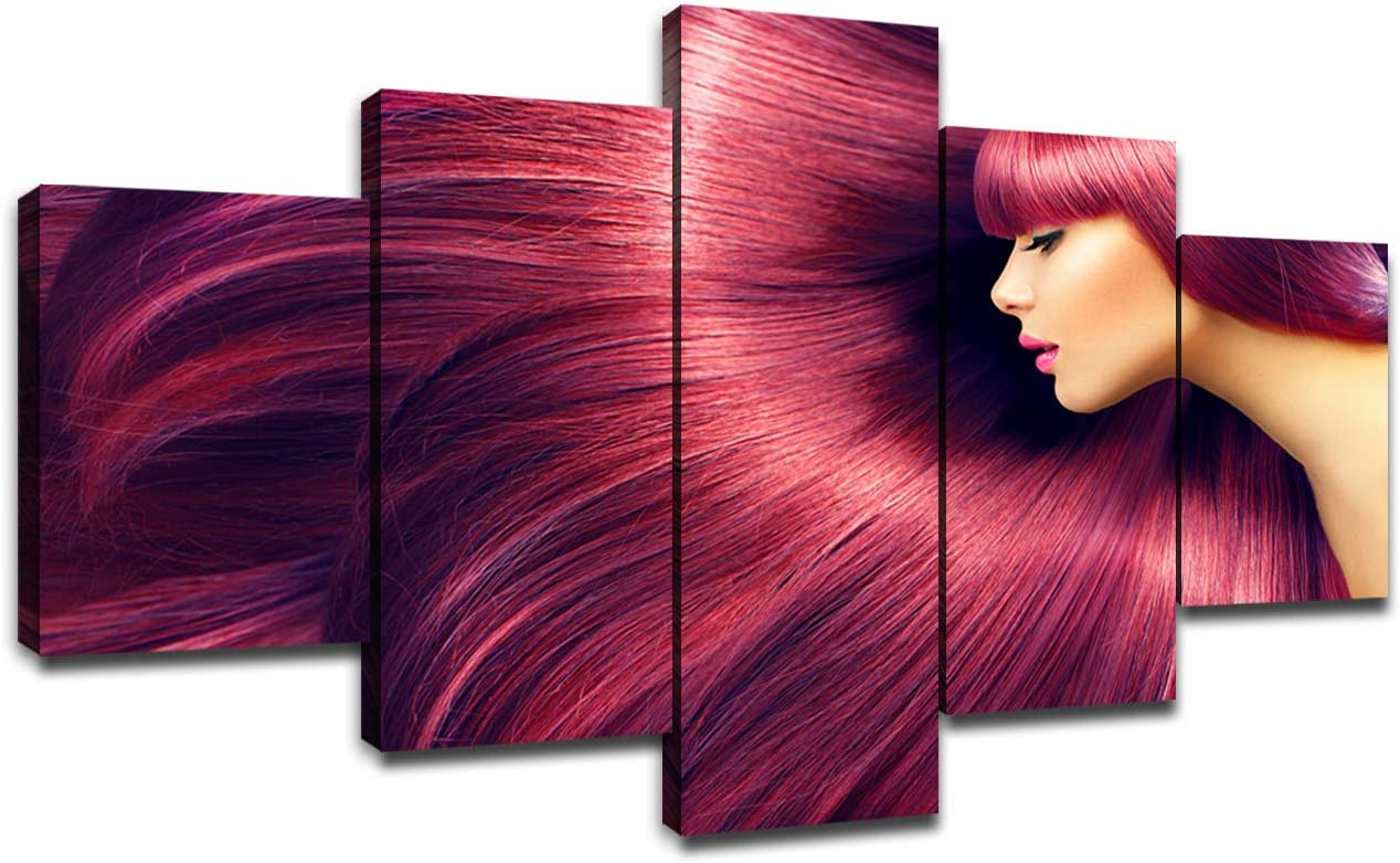 Hair Salon Wall Decor Canvas Art Pictures Poster Framed Prints Hairdressing Paintings Artwork Room Decorations Ready to Hang(60''Wx32''H)