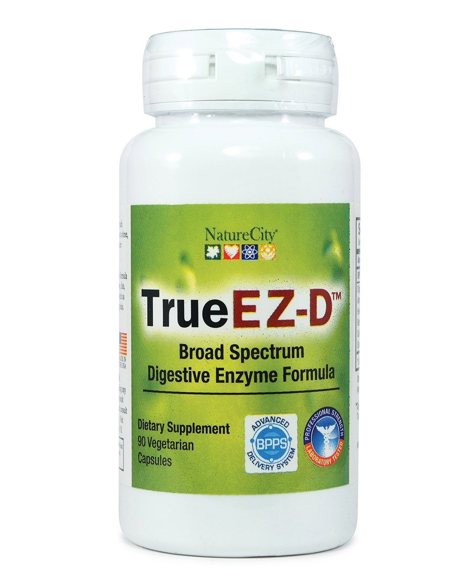 TrueEZ-D Broad Spectrum Digestive Enzymes Non-GMO Plant Based Enzymes - 90 Veggie Capsules