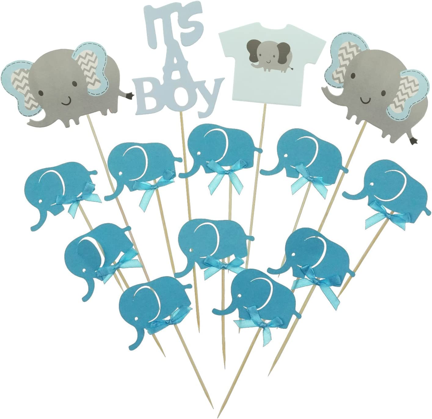 Shxstore Gray and Blue Elephant Cake Cupcake Topper Picks For It's A Boy Baby Shower Birthday Themed Party Decorations Supplies
