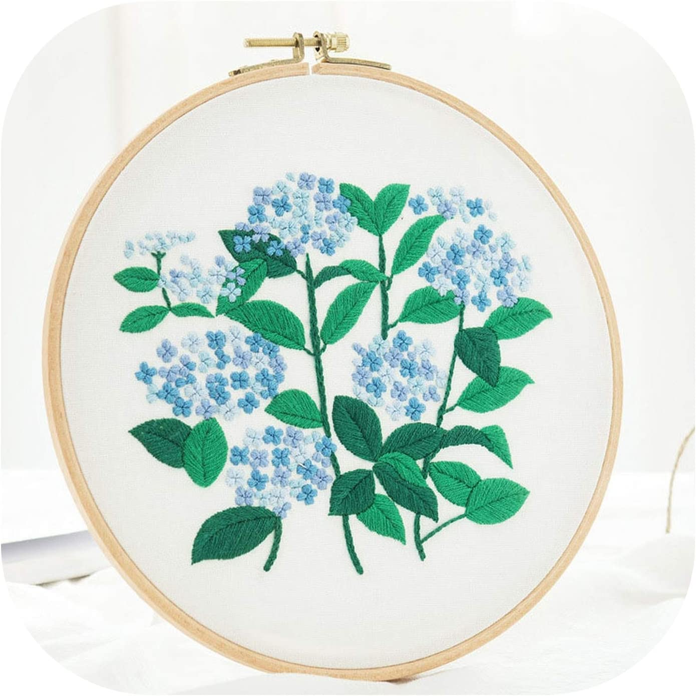 Embroidery DIY Cross Stitch Kits Flower Patterns Needlework Set with Embroidery Hoop Handmade Arts Crafts Sewing Home Decor Gift,2,20cm Bamboo Hoop kit