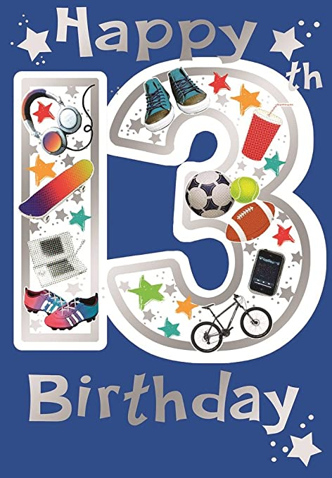 Cards Galore Online Age 13 Boy Birthday Card Bright Shoes