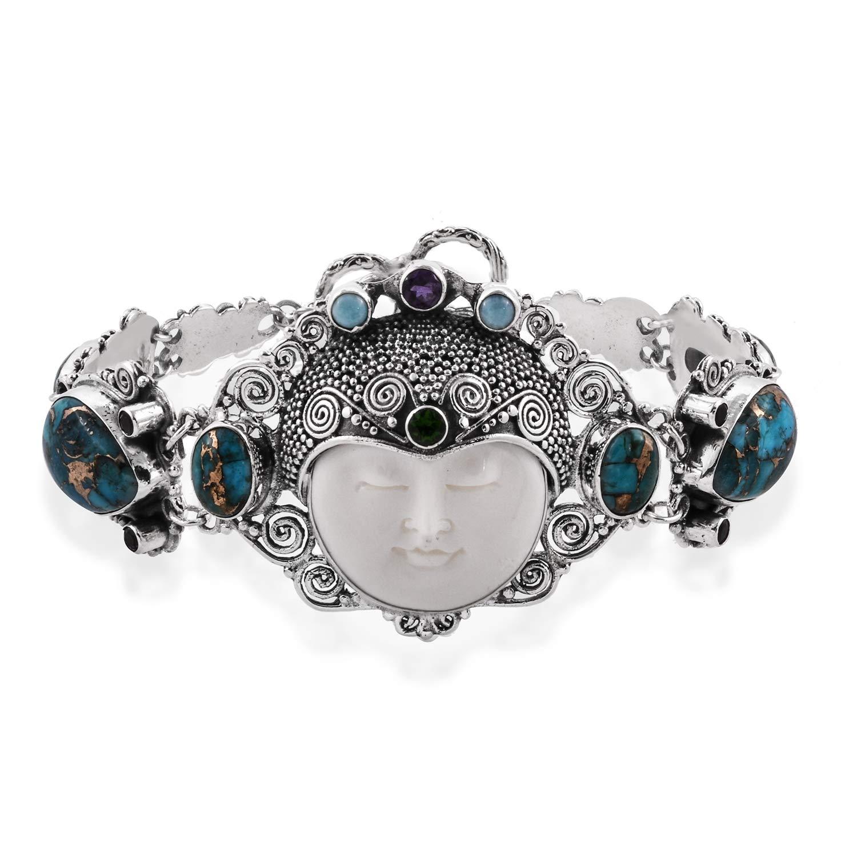 925 Sterling Silver Blue Turquoise Carved Bone Larimar Bracelet for Women