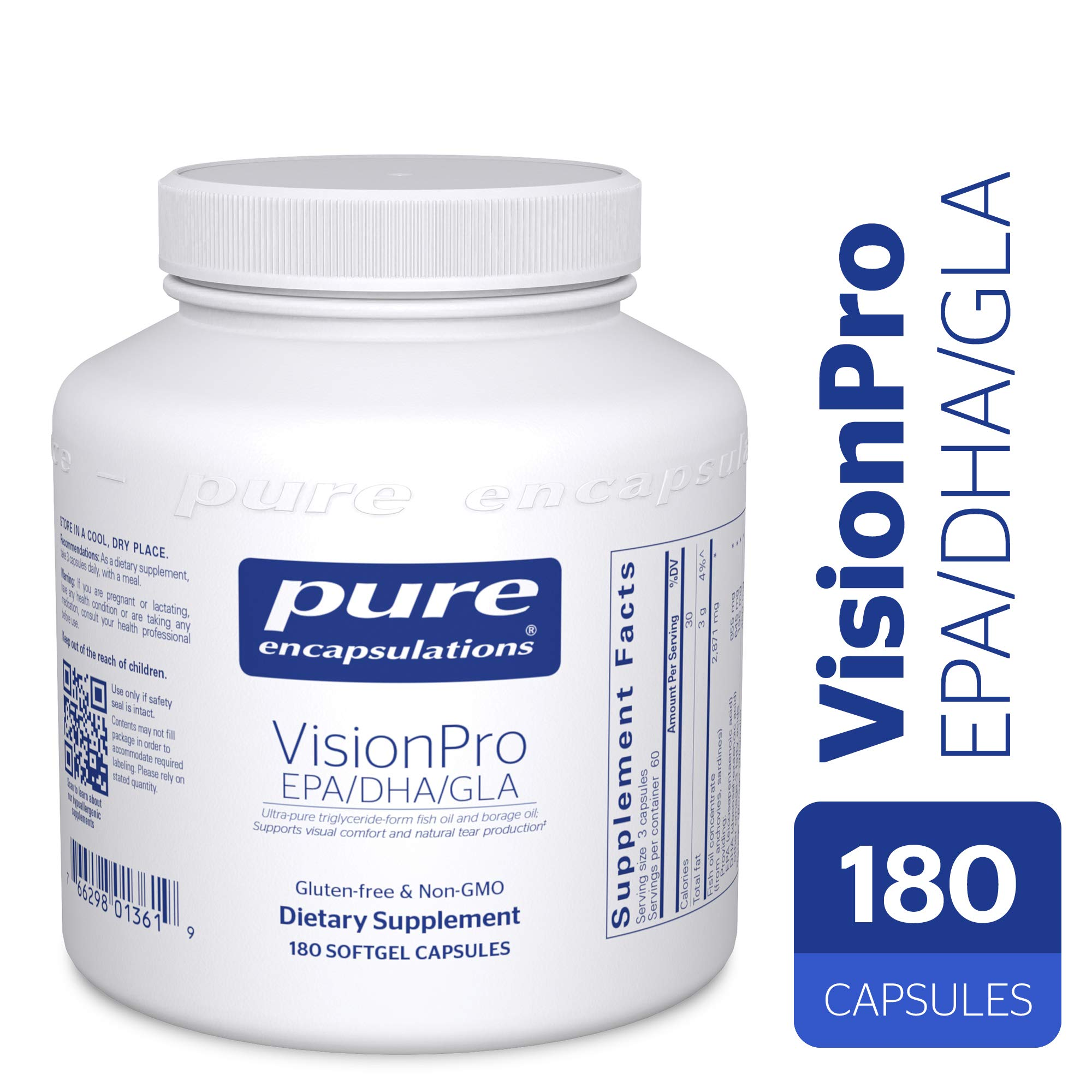 Pure Encapsulations - VisionPro EPA/DHA/GLA - Dietary Supplement to Support Natural Tear Production and Retention of Eye Moisture* - 180 Softgel Capsules by Pure Encapsulations