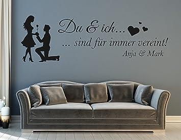 tjapalo®s-pkm311 Wandtattoo Wohnzimmer modern Wandtattoo schlafzimmer  spruch du und ich für Paare mit Namen (B58 x H18 cm)