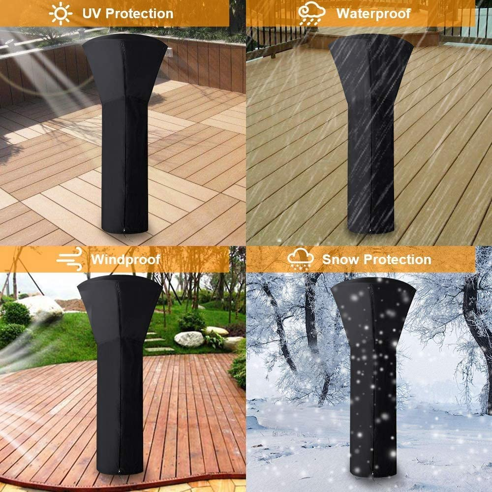 Standup Outdoor Round Heater Covers 24 Months of Use 89 H x 33 D x 19 B Hoepaid Patio Heater Cover Waterproof with Zipper