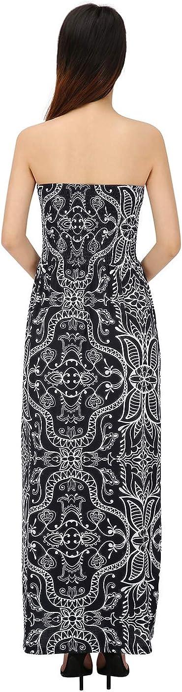Black Abstract, 4X HDE Womens Strapless Maxi Dress Plus Size Tube Top Long Skirt Sundress