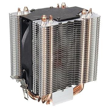 Prosperveil 4pcs Heatpipe Radiator Blau LED Hydraulische Lager CPU K/ühler L/üfter K/ühlk/örper
