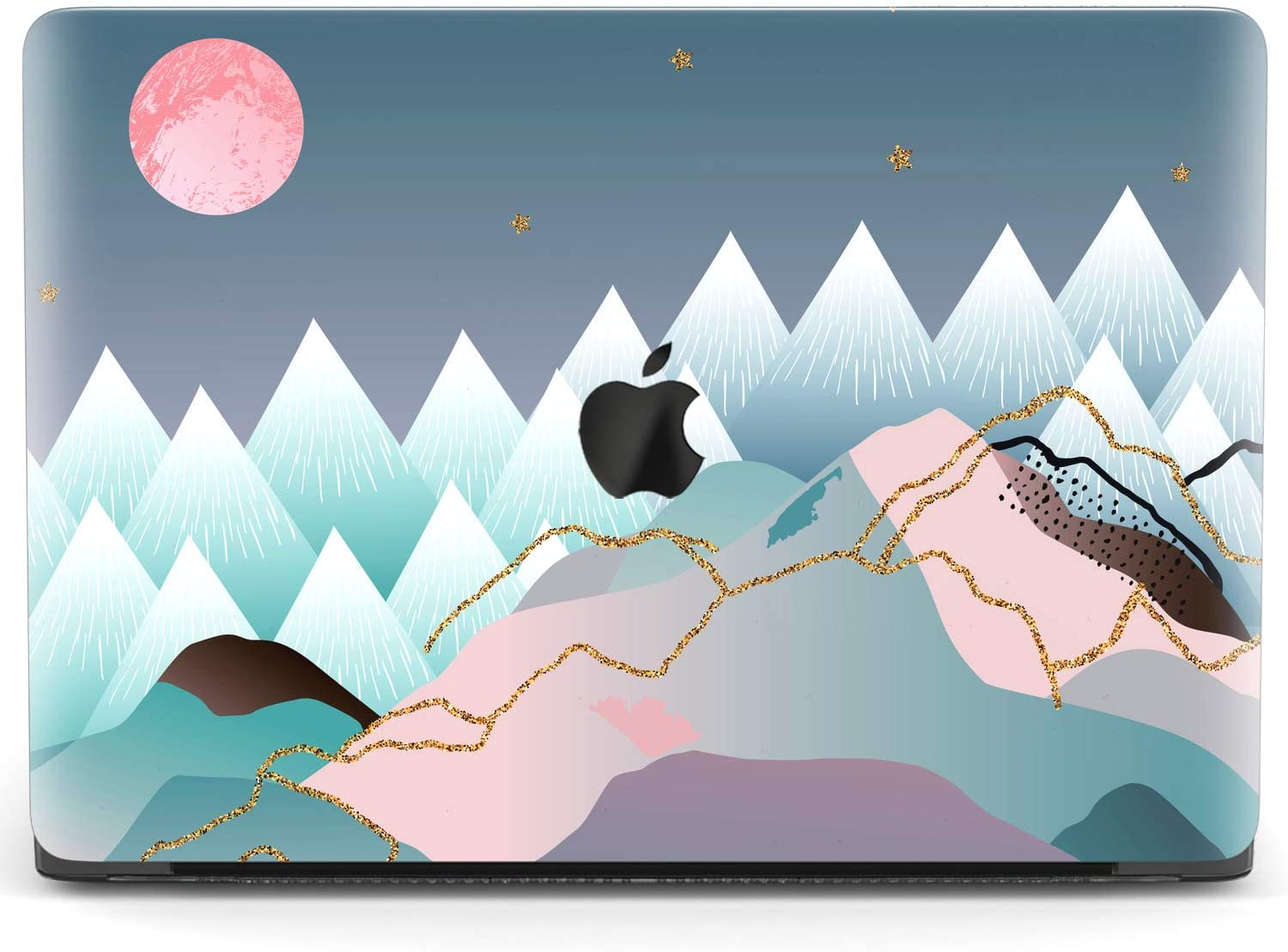 Mertak Hard Case for Apple MacBook Pro 16 Air 13 inch Mac 15 Retina 12 11 2020 2019 2018 2017 Design Mountains Nordic Cover Abstract Art Full Moon Scandinavian Plastic Protective Print Laptop