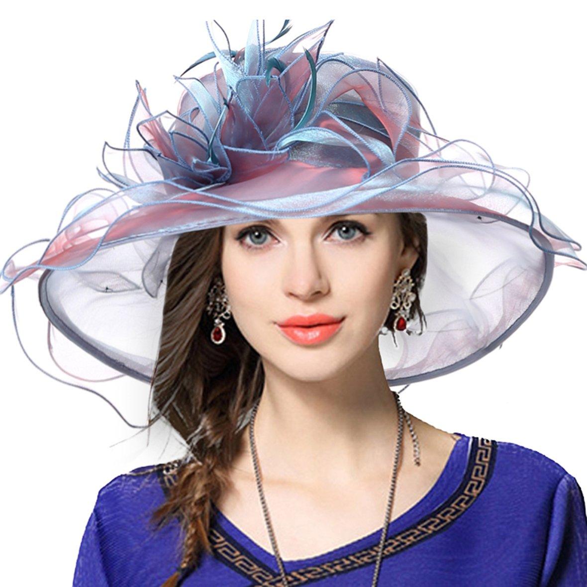Women's Church Derby Dress Fascinator Bridal Cap British Tea Party Wedding Hat (Plain-Aqua)