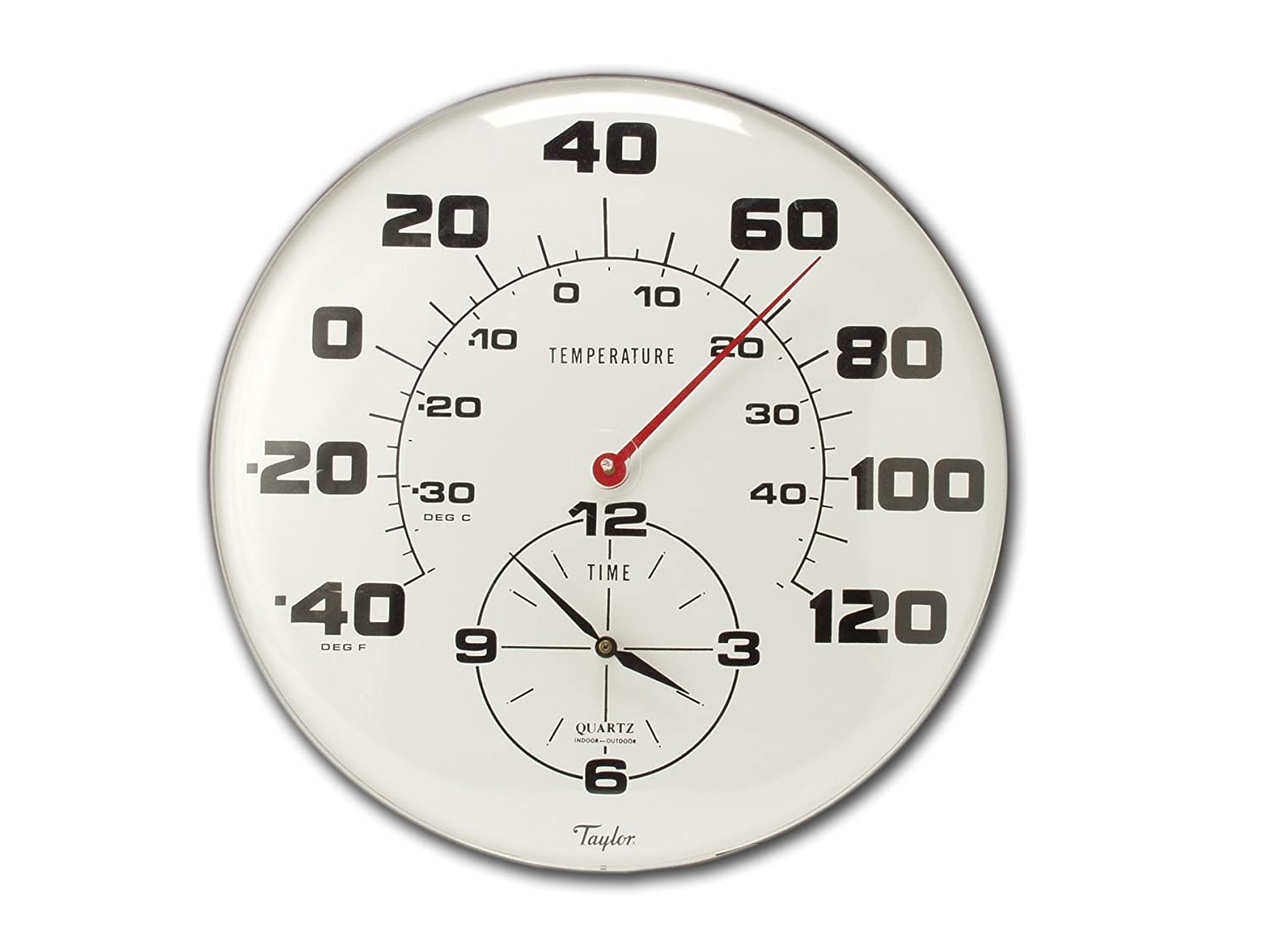 Amazon.com : Taylor Precision Products Patio Thermometer And Clock  (18 Inch) : Outdoor Thermometers : Garden U0026 Outdoor
