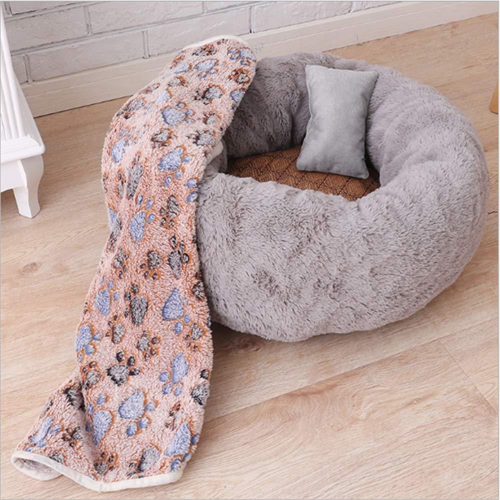 Dark grey L SetB dark grey L SetB GBJ-1 Pet Cat Small Dog Basket Soft Bed Met House Artificial Wool (S M L) (L SetB, Dark Grey)