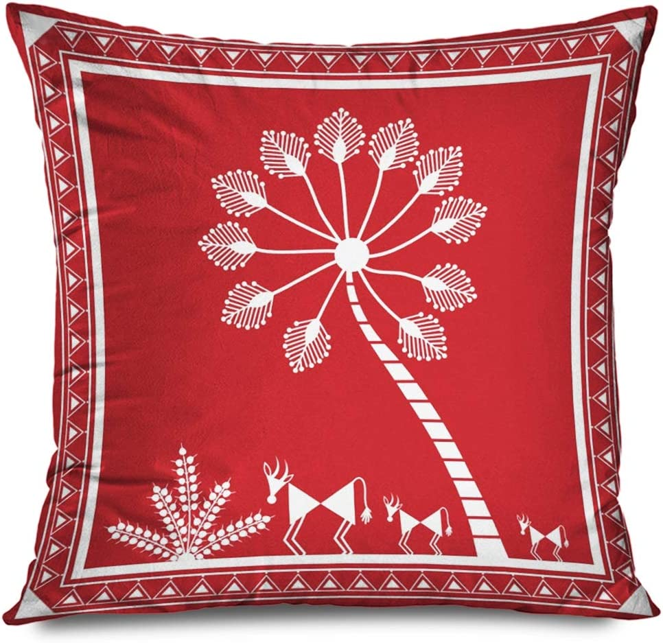 Ahawoso Throw Pillow Cover Square 18x18 Red Traditional Indian Tribal Painting Warli Asian Tree Nature India Odisha Orissa Abstract Africa Decorative Pillowcase Home Decor Zippered Cushion Case