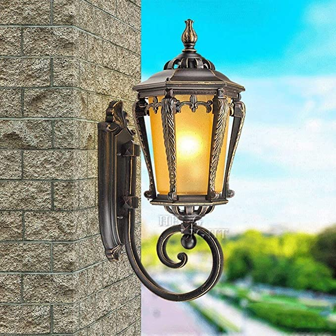 Amazon.com: MMPY Waterproof Matte Transparent Glass Antique Classic Wall Lamp for Outdoor Garden Courtyard Decoration: Home & Kitchen