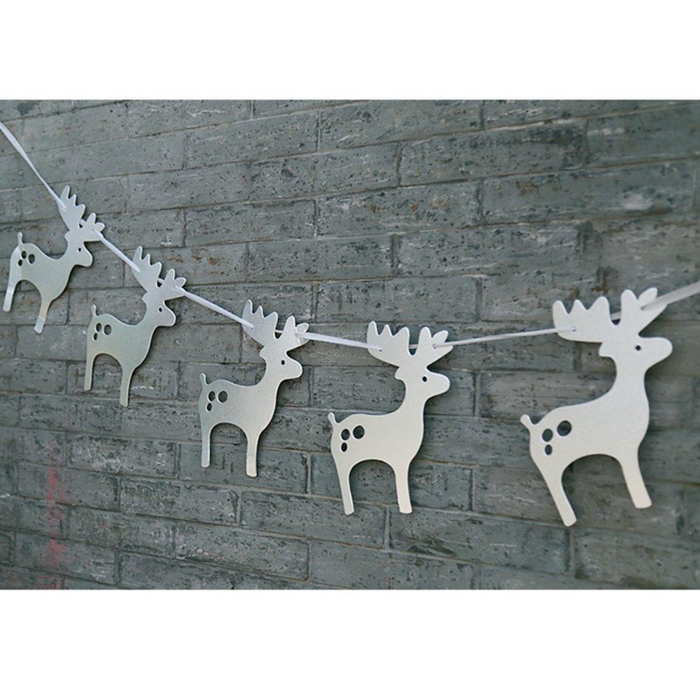 OULII Moose ghirlande decorazioni albero di natale banner Party Home bambini compleanno Natale decorazione della carta con il nastro (argento)