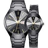 YZPFSD Relojes De Pareja Reloj Cronógrafo De Cuarzo Reloj Clásico De Acero Inoxidable Resistente Al Agua para Él Y para Ella,