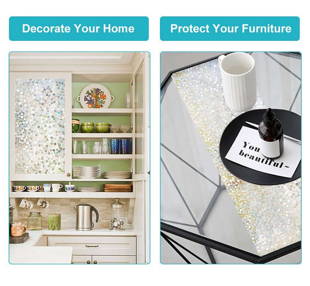 Dot Window Film Circles Pattern Glass Tinting Film Doors Window Covering Window Clings Decorative Window Decorative Film for Sliding Door Sun Room Home Office 17.7in. by 78.7in. (45 x 200CM by Kitten Fishing (Image #6)